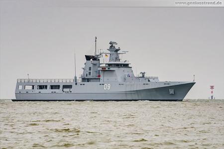 Wilhelmshaven: Schiffsneubau Daruttaqwa (09) der Royal Brunei Navy