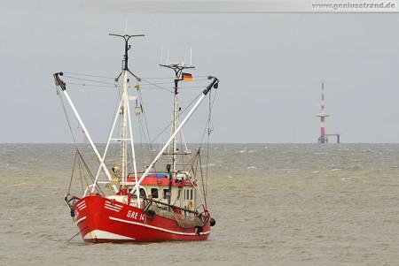 Krabbenkutter Wangerland (GRE-14) liegt bei Hooksiel vor Anker