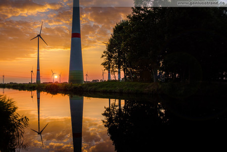 Ems-Jade-Kanal: Sonnenuntergang am Windpark Sande