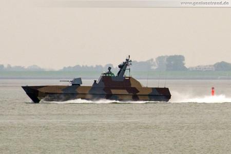 Wilhelmshaven: Tarnkappenschiff HNOMS SKUDD (P962) auf der Jade