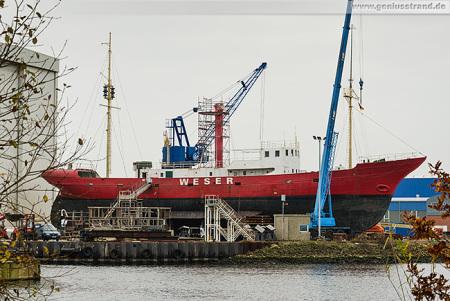 Wilhelmshaven Neue Jadewerft: Feuerschiff WESER auf der Slipanlage