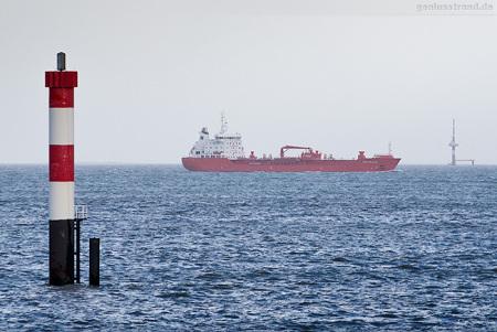 Wilhelmshaven: Tanker STEN SKAGEN am Unterfeuer Voslapp