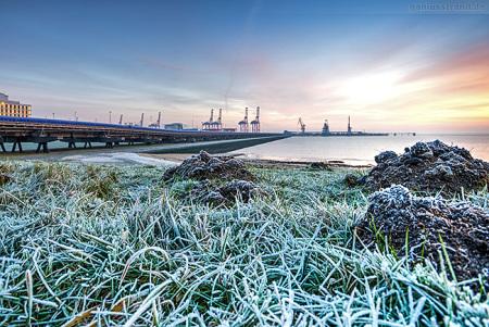 Niedersachsenbrücke und der Container Terminal Wilhelmshaven im Winter