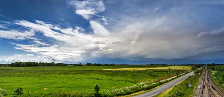Wilhelmshaven: Wetterbild aus Alt Voslapp in Höhe Ölweiche mit Blick in Richtung Süden fotografiert