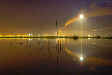 JadeWeserPort (GVZ): Nachtaufnahme am Neujahrsabend