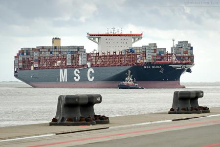 JadeWeserPort Schiffsabfahrten: Containerschiff MSC DIANA (L 399 m)