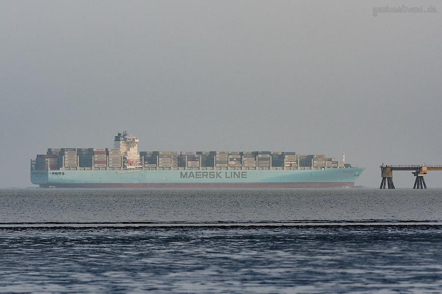 Ankünfte JadeWeserPort: Containerschiff MAERSK GIBRALTAR (L 337 m) auf Jungfernfahrt