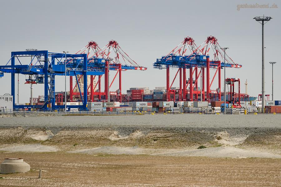 Containerschiff MAERSK LABREA (L 300 m) am Container Terminal Wilhelmshaven (CTW)