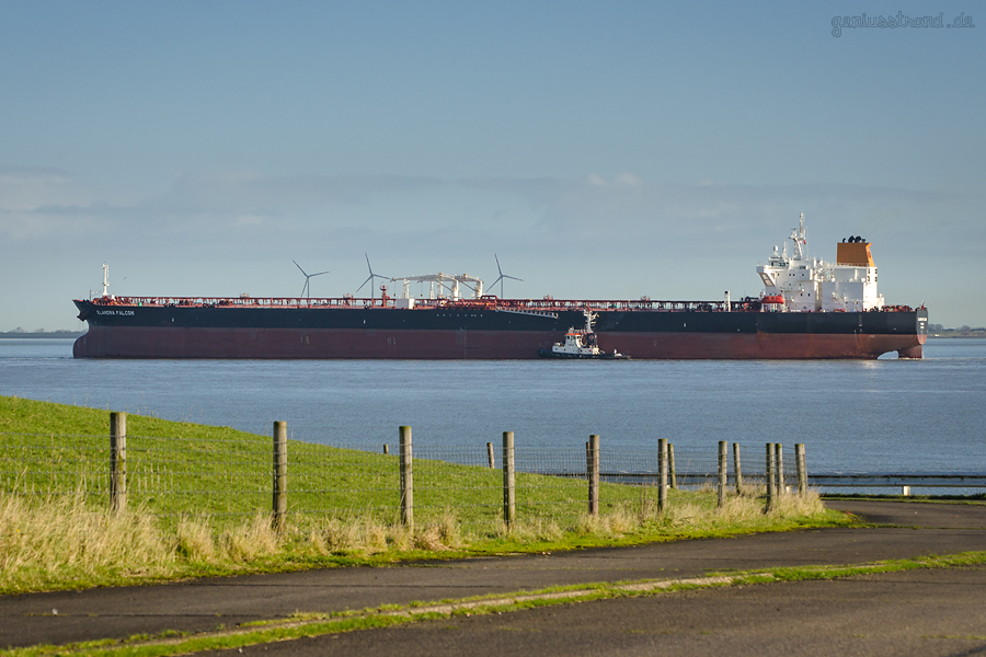 WILHELMSHAVEN NWO: Schiffsneubau ELANDRA FALCON (L 277 m) löschte über 130.00 t Öl