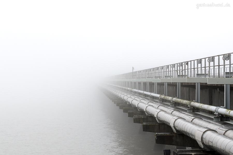 JadeWeserPort: Containerschiff OOCL JAPAN (L 400 m) versinkt im Nebel