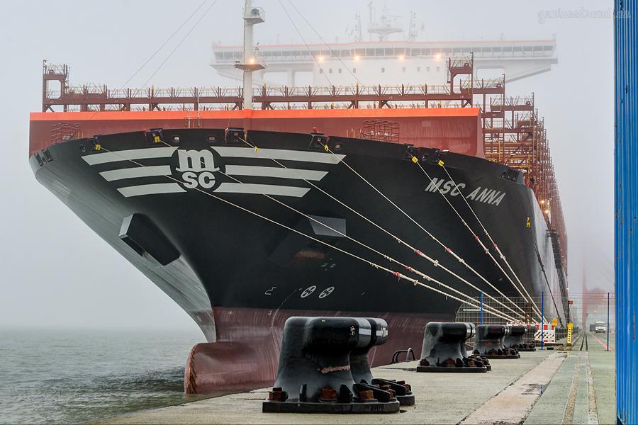 JadeWeserPort Wilhelmshaven: Containerschiff MSC ANNA (L 400 m)