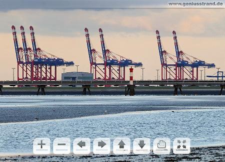 CT Bremerhaven und CTW (Megapixel Panorama) Interaktives Panorama JadeWeserPort Containerkräne Containerbrücken