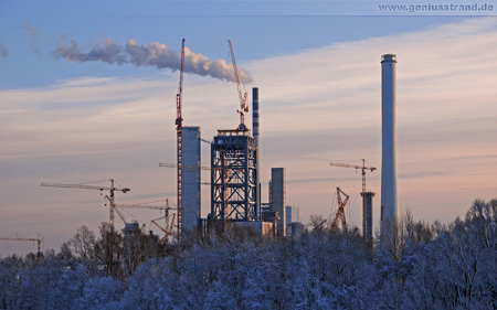 Die Kraftwerksbaustelle im Winter 2009
