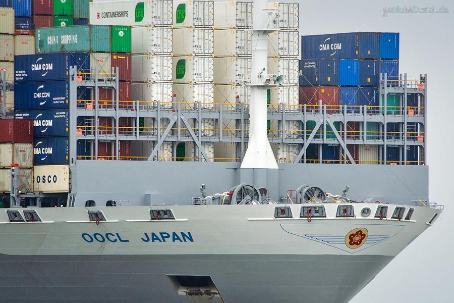 SCHIFFSANKÜNFTE JADEWESERPORT: Containerschiff OOCL JAPAN (L 400 m) einlaufend