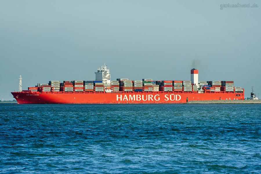 JADEWESERPORT ABFAHRTEN: Containerschiff CAP SAN LAZARO (Hamburg Süd)