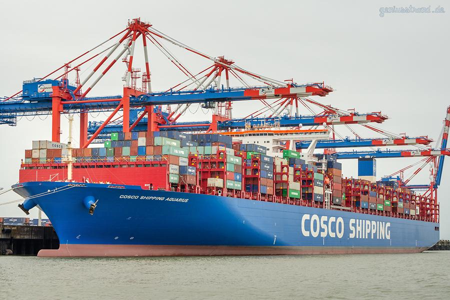 JADE-WESER-PORT: Containerschiff COSCO SHIPPING AQUARIUS (Schiffsneubau)