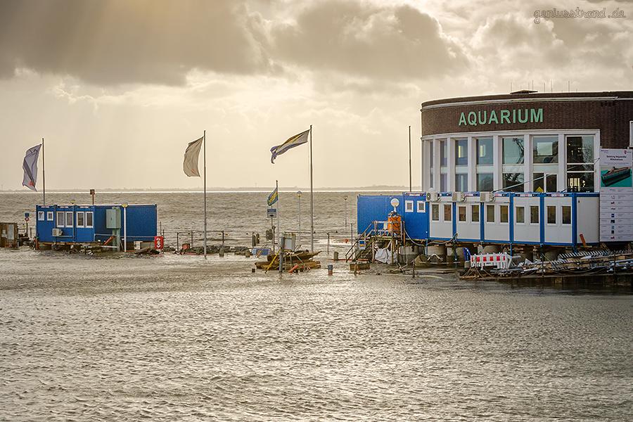 WILHELMSHAVEN STURMFLUT: Blick auf den Alten Vorhafen und Strandhalle