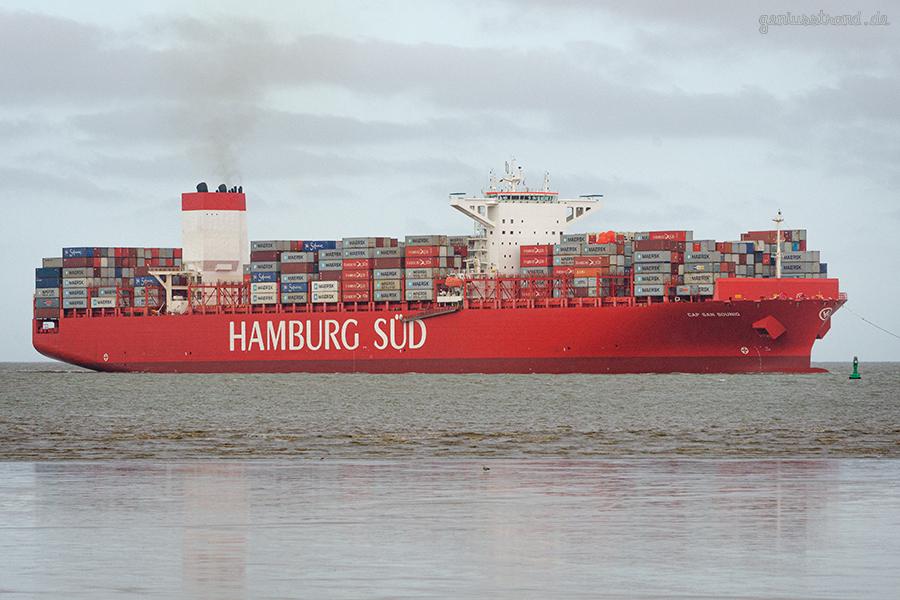 JADEWESERPORT SCHIFFSANKUNFT: Containerschiff CAP SAN SOUNIO einlaufend